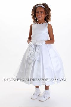 White Sleeveless Pleated Satin Dress With Embroidery 49 99 Flower Dresses S