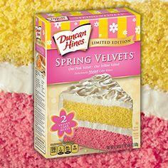 Spring Velvets Cake Mix One pink velvet, one yellow velvet, deliciously moist cake mixes.
