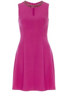 Fuchsia crepe embossed fit and flare dress