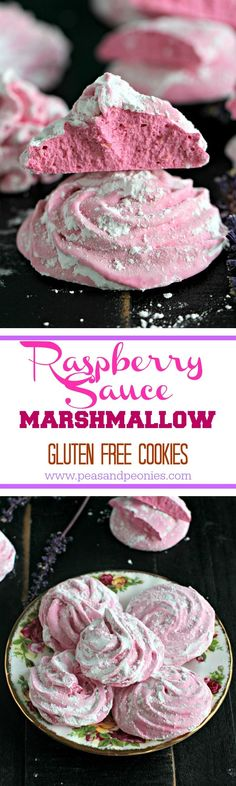 Raspberry Marshmallow Cookies - Gluten free and vegetarian raspberry marshmallow cookies are made with raspberry sauce, with a crispy outside and soft marshmallowy middle. - Peas and Peonies #cookies #christmascookies #agaragar #marshmallow #raspberry #glutenfree