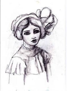 #portrait #charcoal #art #drawing #woman #edwardian #girl Charcoal-Drawing-of-Edwardian-Girl-Portrait-Original-Art