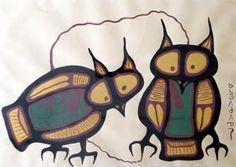 Norval Morrisseau's two owls Arte Inuit, Inuit Art, Native Canadian, Canadian Artists, South American Art, Native American Art, Woodland Art, Indigenous Art, Aboriginal Art