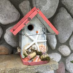 Coral Beach Birdhouse Functional For Birds Seashell Bird House, Decorative  Garden Art, Handmade Wooden Birdhouses For Sale Item 279170928