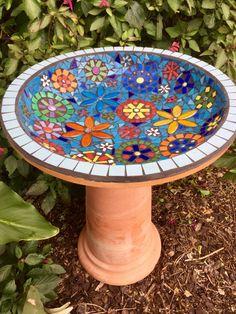 Bird bath Mosaic birdbath Garden Art by RebeccaNaylorMosaics