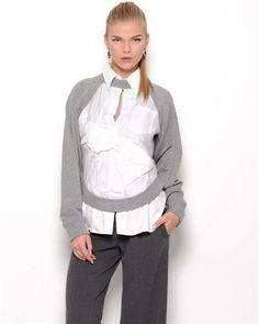 Jean Paul Gaultier Femme Wool & Silk Blend Blouse - Made in Italy