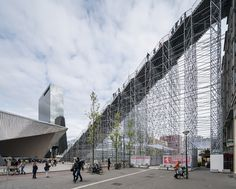 MVRDV realizes giant scaffold staircase in central rotterdam