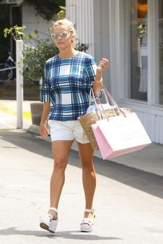Reese Witherspoon wearing Hermes-Ilana White Wedge Sandals