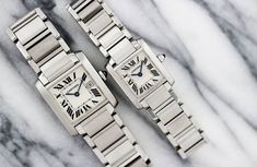 This month we are talking about one of our favorite classic timepieces. The Cartier Tank Française. Just last year, Cartier celebrated the anniversary of their famous Tank watch. Blue Sword, Run The Jewels, Cartier Tank Francaise, Stainless Steel Tanks, Tank Watch, Fashion Watches, Girl Watches, New Tank, White Pearl Necklace