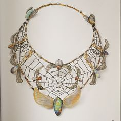 Charles Boutet de Monvel. Necklace 1900. 18k yellow gold, silver, opal, glass, ruby, Pearl, Diamond