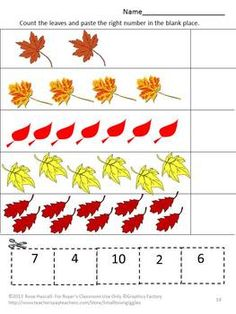 Falling Autumn Leaves Cut and Paste Worksheet Set-Pre-K, K, Special Education. What can be more fun in the fall for children then playing in the falling leaves. With this packet, Falling Autumn Leaves, students can enjoy learning with the 15 cut and paste worksheets using colorful fall leaves.  Falling Autumn Leaves consists of the following: • Coloring Matching  • What Come Next • Matching Letter-upper case, low case  • Number Matching • Counting • Addition