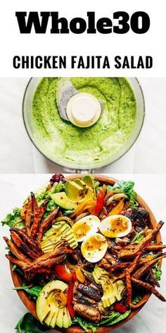 Grilled Garlic Lime Chicken Fajita Salad loaded with crispy sweet potato fries grilled chicken and topped with creamy avocado dressing made in the blender! Paleo and makes for easy meal prep! meal plan that's quick and healthy! Easy Whole 30 Recipes, Paleo Whole 30, Whole Food Recipes, Healthy Recipes, Whole30 Recipes, Meal Recipes, Healthy Meals, Supper Recipes, Quick Recipes