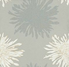 Wow! (724875) - Albany Wallpapers - A striking contemporary floral design - large chrysanthemums in cream and beige and slate grey outlined in silver on a mushroom background. Please ask for sample for true colour match.