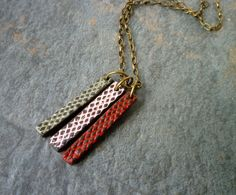 Thin Mesh Blocks Necklace - Red Pink and Grey.