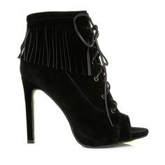 6149fd00afe1 JESSICA Black Faux Suede Fringe Lace Up Peep Toe High Heels
