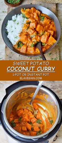 This vegan sweet potato curry with spinach and coconut milk is creamy and very . - This vegan sweet potato curry with spinach and coconut milk is creamy and delicious. The recipe can - Vegan Recetas, Sweet Potato Coconut Curry, Indian Food Recipes, Healthy Recipes, Instapot Vegan Recipes, Vegetarian Sweet Potato Recipes, Vegan Recipes With Sweet Potatoes, Crockpot Sweet Potato Recipes, Vegetarian Recipes Instant Pot