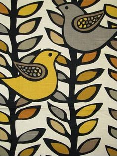 mid century modern bird fabric | 17.99 per yard! Scandinavian Retro Modern Folk Art Bird Leaves Black ...