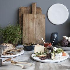 Kähler - Hammershøj Platte (Ø30 cm) - hvid  Køkken - Service - servering - spisebord - borddækning.