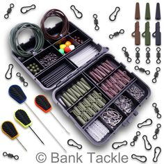 Carp fishing box lead clips swivels baiting needles rigs, View more on the LINK: www. Pike Fishing Tips, Carp Fishing Tackle, Fishing Rigs, Fishing Bait, Fishing Knots, Fishing Stuff, Terminal Tackle, Coarse Fishing, Big Fish