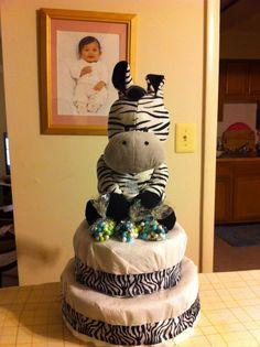 Zebra Diaper Cake for Safari Baby Shower