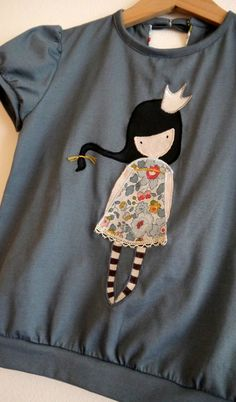 I think this applique is so cute with a print fabric for the dress - - -