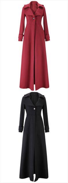 Women's Fashion Long Sleeve Floor Length Long Trench Coat