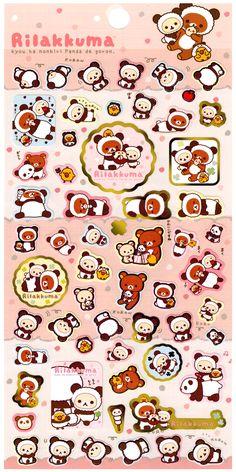 San-x Rilakkuma Panda Fruit Die-Cut Sticker Sheet