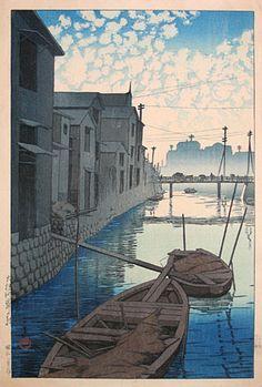 Kawase Hasui (1883-1957): Twenty Views of Tokyo: Morning at Onegishi, woodblock print, 1927. SOLD.