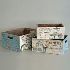 Shabby Wooden Storage Box Flea Market Crate Vintage Rustic Style - 3 Sizes: Amazon.co.uk: Kitchen & Home