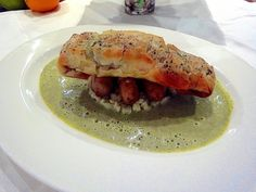 Salmon Wrapped in Filo Pastry, cauliflower couscous and a Watercress Sauce.