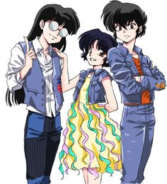 Mousse, Akane, and Ryoga respectively. Anime Sexy, Old Anime, Anime Love, Anime Guys, Manga Anime, Inuyasha, Tsundere, Ranma Y Shampoo, Digimon