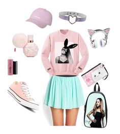 """Ariana Grande-Kawaii School Outfit (Pastel,Pastel Goth,Cute,Babygirl)"" by psycho-babygirl-official on Polyvore featuring Forever 21, MAC Cosmetics and Converse"