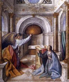 BOCCACCINO, Boccaccio Annunciation to Mary c. 1516 Fresco Cathedral, Cremona