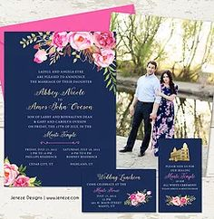 navy and pink wedding invitations boho floral wedding invitation gold and navy wedding