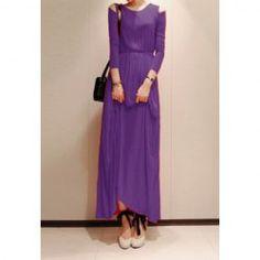 $13.43 Graceful Solid Color Shoulder Hollow Out Slimming Spring Long Dress For Women