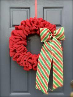 Red Christmas Burlap Wreaths Red Green by WreathsByRebeccaB