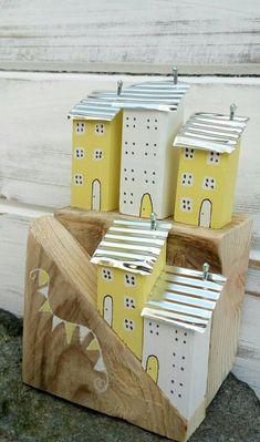❁ ᴸ ᶤ ᵀ ᵀ ᴸ ᴱ village ᴴ ᴼ ᵁ Ꮥ ᴱ Scrap Wood Crafts, Wood Block Crafts, Barn Wood Crafts, Driftwood Crafts, Wooden Crafts, Wood Blocks, Indoor Crafts, Home Crafts, Diy And Crafts