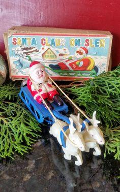 Vintage Metal Wind-Up Santa Sled Toy M.M Japan by PixieVintageHome