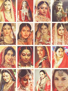 Indian brides in Bollywood movies: help me identify!  1st row: rani, ?, ?, ?. 2nd row: kareena kapoor, kajol, ?, ?. 3rd row: ?, bipasha basu (shob charitro kalponik), ?, ?. 4th row: