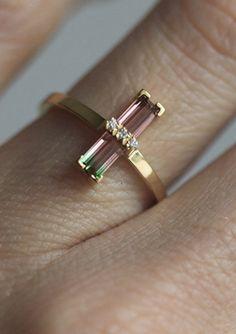 Watermelon Tourmaline & Diamond Ring | MinimalVS on Etsy