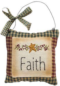 Like us on Facebook! www.facebook.com/AllysonsPlaceDecor / Faith Pillow Ornament / Holiday Decor / Primitive Decor / Country Decor / Primify Christmas Tree