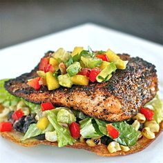 Chili-Rubbed Salmon and Grilled Corn Tostada with Mango Avocado Salsa | The Hopeless Housewife