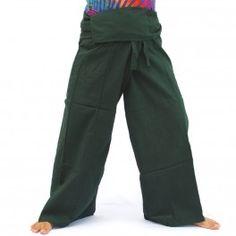 Pantalones de pescador Thai - Dunkelgrün-algodón