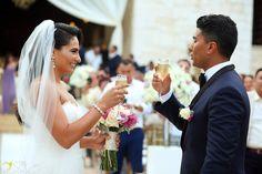 bride and groom  newlyweds wedding toast