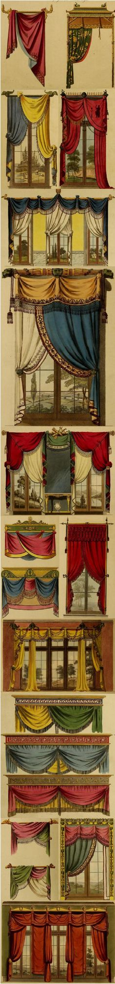 "Drapery ideas from 1808 in the book, ""Collection of Designs for Household Furniture and Interior Decoration, in the Most Approved and Elegant Taste."" Available on the DIY Collaboratorium's library page. Victorian Interiors, Victorian Decor, Victorian Homes, Victorian Curtains, Window Coverings, Window Treatments, Passementerie, Window Dressings, Drapes Curtains"