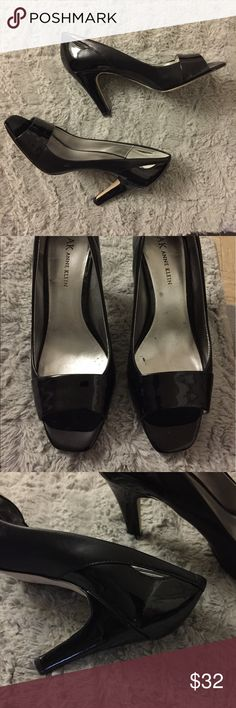 """Anne Klein women black heel open toe shoes In great condition. Very nice for causal or formal styling. Heel is about 3.5"""". Ask if have any questions. Anne Klein Shoes Heels"""