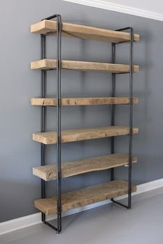 Reclaimed Wood Bookcase Shelving Unit Storage by DendroCo on Etsy Wood Shelving Units, Oak Shelves, Wooden Shelves, Wood Shelf, Pipe Shelves, Storage Shelves, Closet Shelves, Rack Shelf, Book Storage