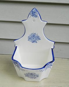 Blue and White Hand Painted Wall Pocket by BlueHeronBungalow,