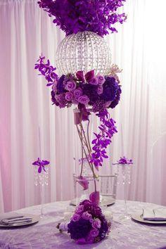 Purple deluxe wedding centerpieces