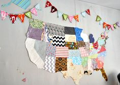 Map of The United States of America all in fabric