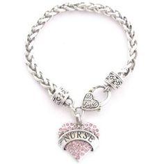Pink Crystal Rhinestone Heart Pendant Bracelet | Gifts For Nurses Week, Nurse Graduation Gifts Heart Bracelet, Bracelets, Army Gifts, Work Gifts, Employee Gifts, Gifts For Boss, Crystal Rhinestone, Best Gifts, Bling